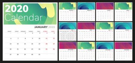 2020日历星期一开始。 彩色日历模板._高清图片_邑石网