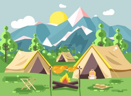 矢量图和性质上的帐篷露营,炒鸡肉上篝火篝火用木柴烧烤, 冒险, 公园