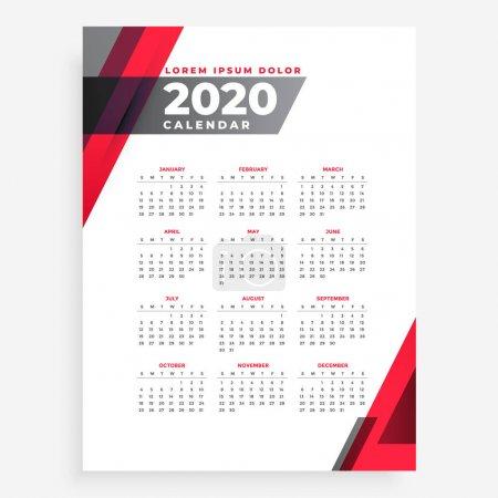 雅致2020几何新年日历设计模板 _高清图片_邑石网