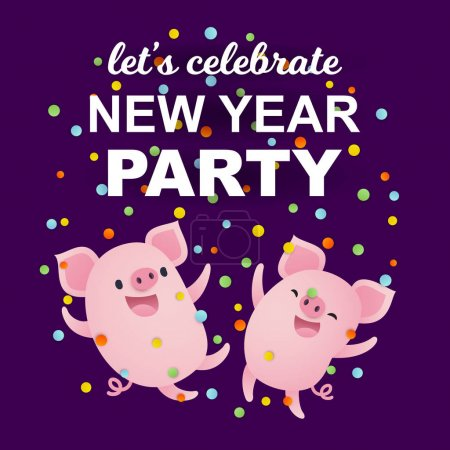 New Year Party banner with cute cartoon pigs, lettering and confetti.