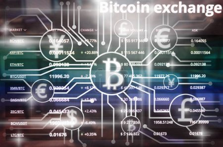 Abstract photo of FINTECH connection over the Cryptocurrency trading and Bitcoin exchange screen of trading information background,Fintech and Block chain technology of Crypto concept