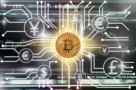 Bitcoins mockup over the Abstract photo of FINTECH connection on the Cryptocurrency trading and Bitcoin exchange screen of trading information background,Fintech and Block chain technology concept