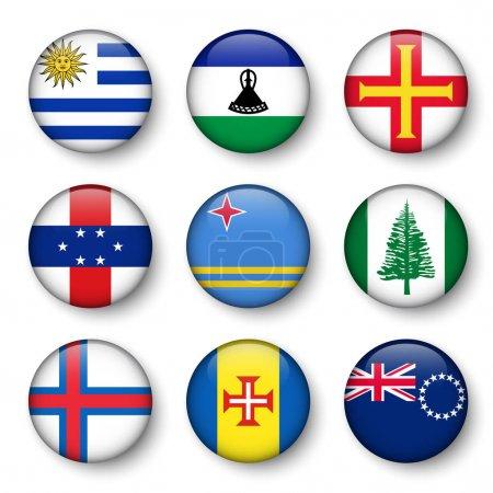 Set of world flags round badges ( Uruguay . Lesotho . Guernsey . Netherlands Antilles . Aruba . Norfolk Island . Faroe Islands . Madeira . Cook Islands )
