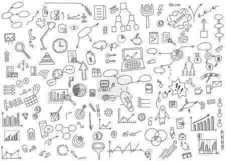 手绘涂鸦元素钱和硬币图标,图表图形.概念企业财务分析收益.矢量图
