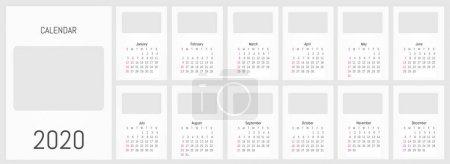 2020年月度挂历。 矢量简易设计_高清图片_邑石网
