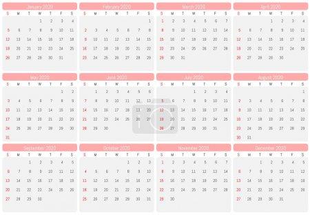 2020年壁历。 矢量简易设计_高清图片_邑石网