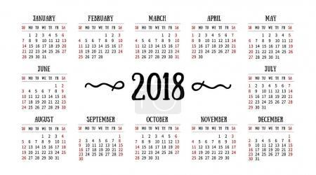 白色背景上的 2018年矢量日历._高清图片_邑石网