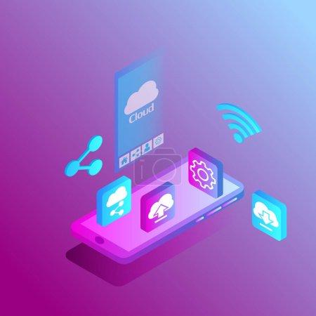 用于智能手机应用的等距智能手机共享服务。 网页、移动、海报、横幅和背景矢量模板._高清图片_邑石网