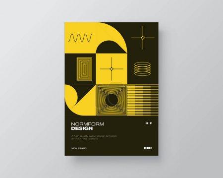 A4尺寸矢量造型的后现代平面设计,以现代主义和极简主义的野蛮风格创作,适用于海报艺术、杂志头版、装饰印刷品、网页横幅艺术作品._高清图片_邑石网