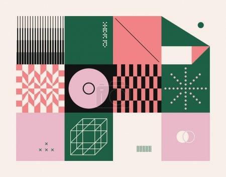 新现代主义艺术模式由抽象矢量几何形状和形式。简单的形式,大胆的平面设计,适用于网络艺术,邀请卡,海报,印刷品,纺织品,背景._高清图片_邑石网