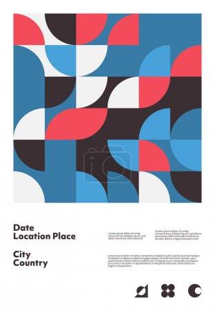 带有可编辑文字和图形的几何海报设计布局。 具有简单矢量形状的瑞士几何构图. 适用于海报设计、展示背景、 A4尺寸的传单._高清图片_邑石网