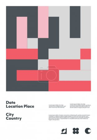 包豪斯用矢量抽象元素、线条和大胆的几何形状创作的矢量海报模型的平面设计,对海报艺术、头版设计、装饰印刷品都很有帮助._高清图片_邑石网