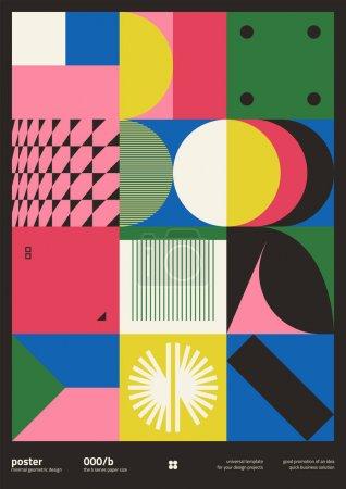 残忍主义启发了矢量海报封面布局的平面设计,采用矢量抽象元素和几何形状,适用于海报艺术、网站标题、头版设计、装饰印刷品._高清图片_邑石网