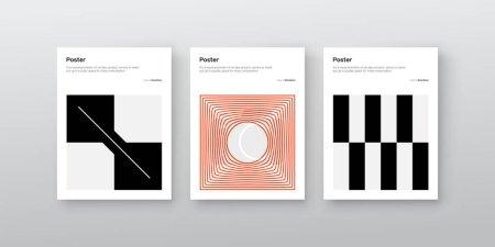 包豪斯启发了矢量海报模型的平面设计,利用矢量抽象元素、线条和粗体几何形状创建了矢量海报模型集合,用于海报艺术、头版设计、装饰印刷品._高清图片_邑石网