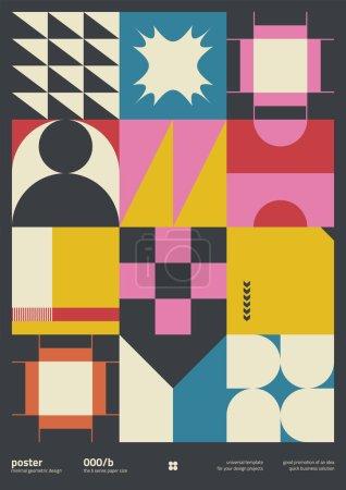 残忍主义启发了现代海报封面布局的平面设计,采用矢量抽象元素和几何形状,适用于海报艺术、网站标题、头版设计、装饰印刷品._高清图片_邑石网