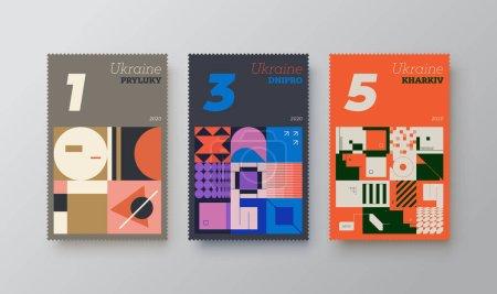 当代的邮票矢量造型平面设计是以后现代和中世纪风格创作的。 用抽象矢量形状、粗体元素和简单几何形式制成._高清图片_邑石网