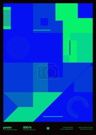 带有可编辑文字和图形的几何海报设计布局。几何构图具有简单的矢量形状.适用于海报设计、展示背景、 A4尺寸的传单._高清图片_邑石网