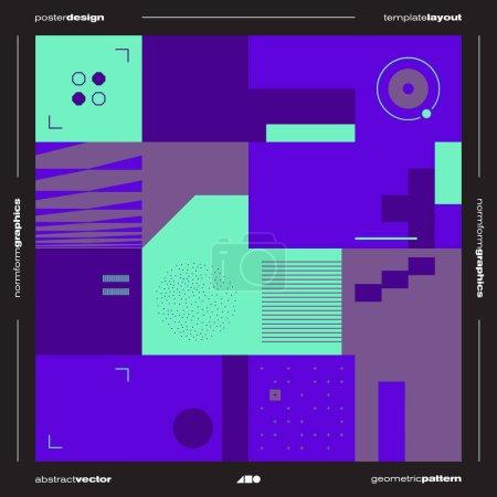 残忍主义启发了矢量海报封面布局的平面设计,采用矢量抽象元素和几何形状,适用于海报艺术、网站标题、头版设计、装饰印刷品_高清图片_邑石网