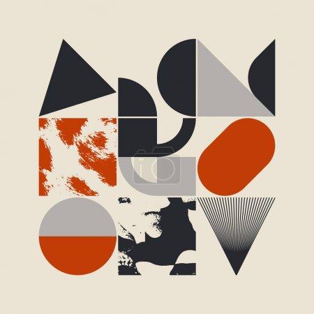 抽象图案设计构图中的新复古美学.用简单的几何形状和粗糙的纹理创作的矢量图形拼贴,可用于海报艺术和数字印刷._高清图片_邑石网