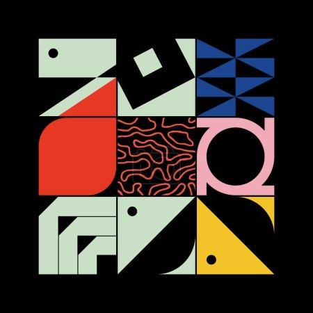残忍的艺术激发了用简单的几何形状和形式制成的抽象矢量图案。粗体平面设计,可用于网络艺术、邀请卡、海报、印刷品、纺织品、背景._高清图片_邑石网