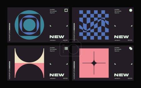 矢量海报设计卡片中的新现代主义美学.以抽象几何形状制作的网页模板布局中的野蛮行为激发了图形的灵感,对海报艺术、网站标题、数字印刷品都很有用._高清图片_邑石网