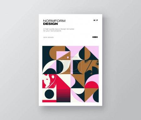 A4尺寸矢量造型的几何图形设计,以现代主义和简约的野蛮风格创作,可用于海报艺术、传单广告、杂志印刷、商业展示._高清图片_邑石网