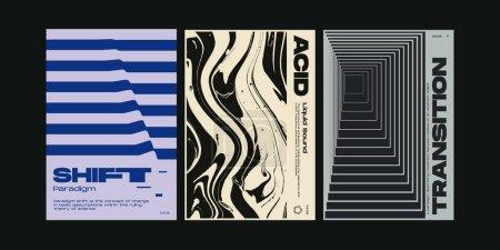 梅塔现代美学的瑞士设计海报收藏布局.残忍的艺术激发了矢量图形模板集的灵感,这些模板集采用了大胆的排版和抽象的几何形状,非常适合专辑和封面印刷品._高清图片_邑石网