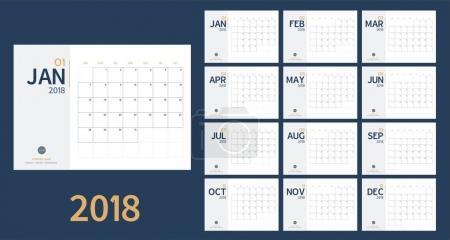 向量的 2018年新年日历在清洁的最小表简单样式和蓝色和黄色的颜色,节日活动策划人,周开始周日,A5 大小_高清图片_邑石网