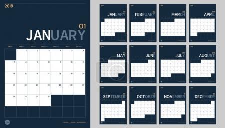 2018年新年日历集在清洁最小表中的向量_高清图片_邑石网