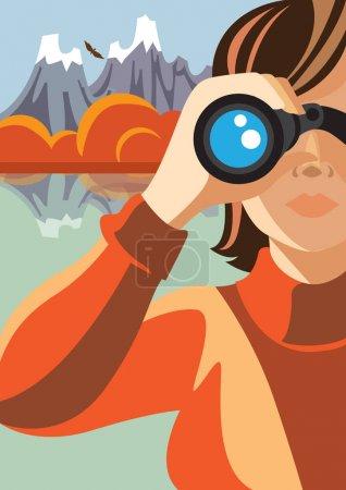 女人看通过双筒望远镜