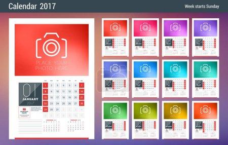 墙上日历计划模板为 2017 年。周从星期日开始。组的 12 个月。笔记和照片的地方。文具设计。矢量日历模板_高清图片_邑石网