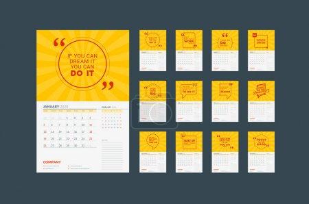 2020年壁挂历规划模板。 矢量设计打印模板与排版动机引文. 12个月。 星期日开始一周_高清图片_邑石网