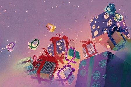 漂浮在紫色背景上的圣诞礼品盒
