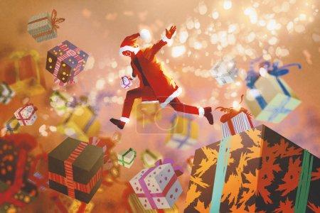 圣诞老人跳进多彩礼品盒