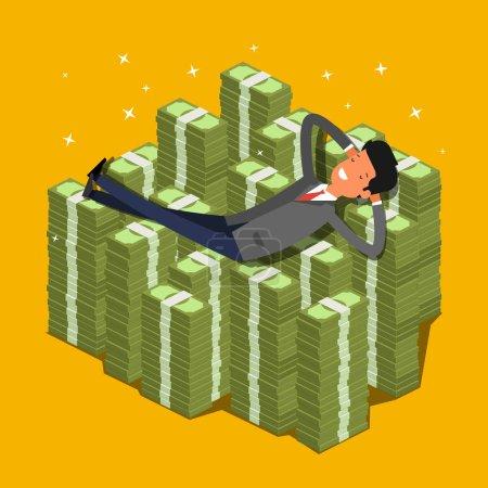 躺在一堆钱的商人
