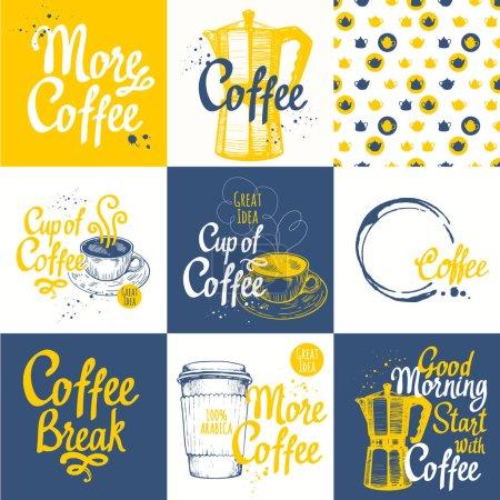 无缝背景与咖啡素描集.热饮料菜单.矢量图: 杯, 制造商和模式.