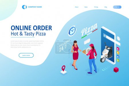 等距在线比萨订单移动应用程序模板。 免费送货、网上速食送货服务._高清图片_邑石网