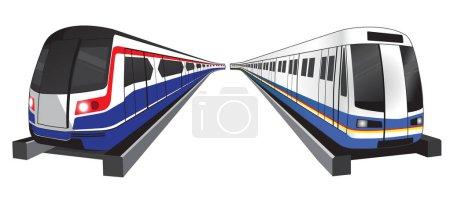 Bangkok skytrain and subwaytrain icon vector illustration