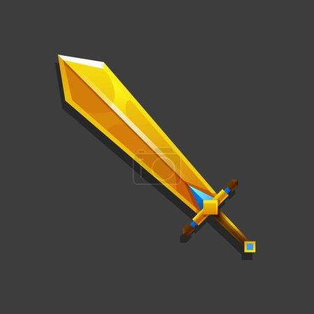 卡通黄金游戏剑.矢量图