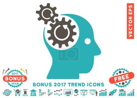 脑齿轮旋转平面图标与 2017年奖金趋势