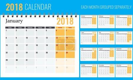 向量2018年新年日历在干净的极小的桌简单的样式与橙色._高清图片_邑石网