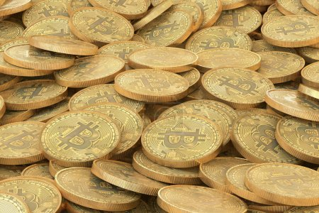 pile of golden bitcoins coins. A lot of virtual money background