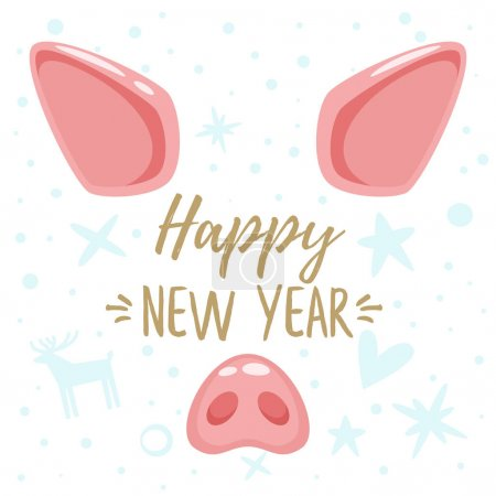 Christmas greeting card with pig