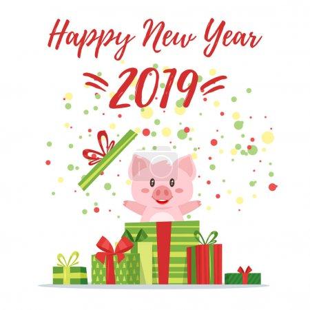 2019 New yea, Christmas greeting card