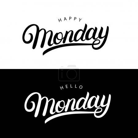 您好, 快乐星期一手写的手写文字, 海报, t恤, 卡片, 请柬, 贴纸._高清图片_邑石网