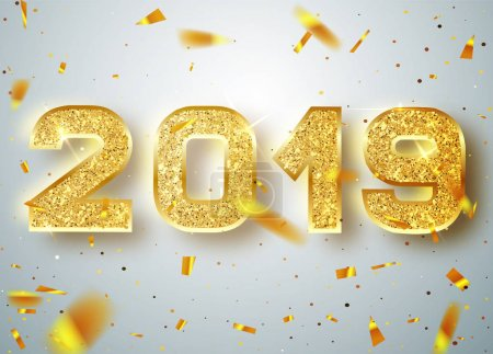 2019 Happy new year. Gold Numbers Design of greeting card of Falling Shiny Confetti. Gold Shining Pattern. Happy New Year Banner with 2019 Numbers on Bright Background. Vector illustration.