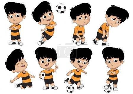 孩子与不同姿势的卡通足球运动员