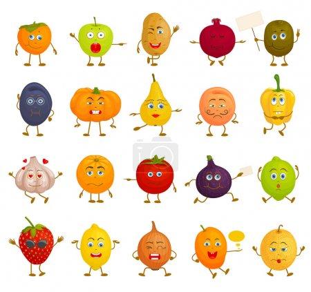 各种蔬菜和水果的面孔在不同的姿势.带有情感,情感和表情的卡通人物图片