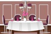 内政部的一间餐厅。矢量图。卡通。表四人、 舒适的厨房、 菜、 花