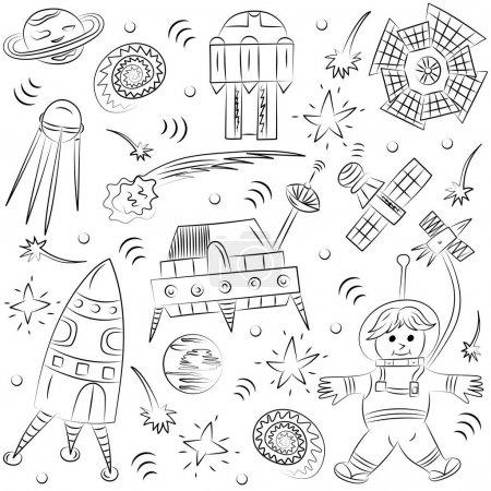 手绘涂鸦太空人, 太空飞船, 火箭, 坠落恒星, 行星和彗星.素描样式